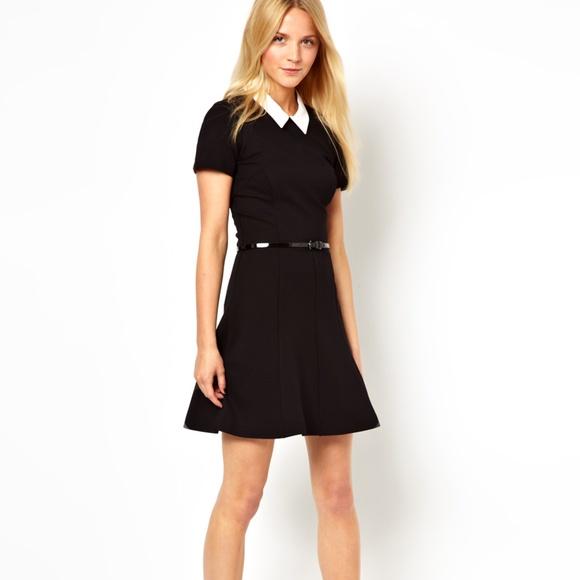 French Connection Dresses Black Collared Skater Dress 8 Poshmark